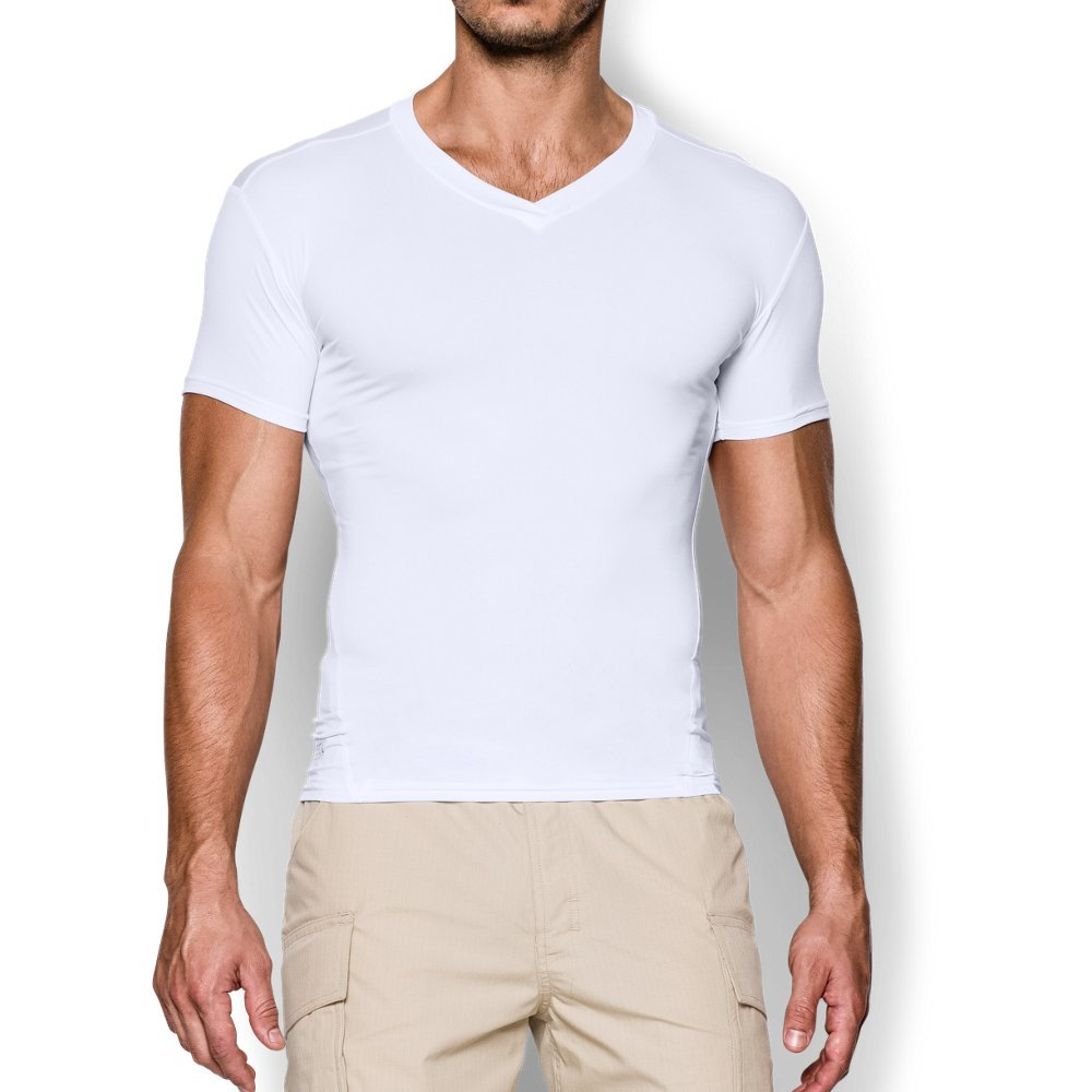 Under Armour Men's Tactical HeatGear Compression V-Neck, White (100)/Clear, Small