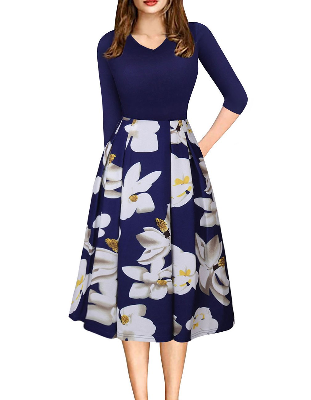 Womens Vintage 3/4 Sleeve Bohemia Floral Midi Patchwork Dress Puffy Swing Casual Party Evening Dress with Pocket (Blue,S)