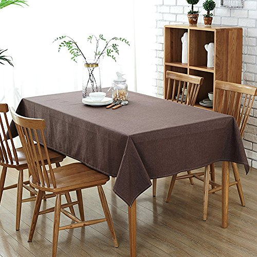 Wimaha 52x70In Rectangle Tablecloth for Wedding Rectangular Table, Cotton Linen Table Cloth, Fabric Table Cover Topper for Picnic, Home Kitchen Dining Dinner Christmas Thanksgiving Party, Coffee Brown