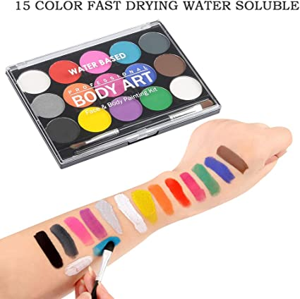 Wowoss Professional Face And Body Paint Palette With Brush 15 Colour Non Toxic Face Paint For Kid Adult Washable Safe Face Painting Palette For Halloween Party Festival Party Amazon Co Uk Beauty