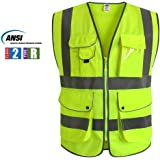 JKSafety 9 Pockets Class 2 High Visibility Zipper Front Safety Vest With Reflective Strips, Yellow Meets ANSI/ISEA Standards (XX-Large)