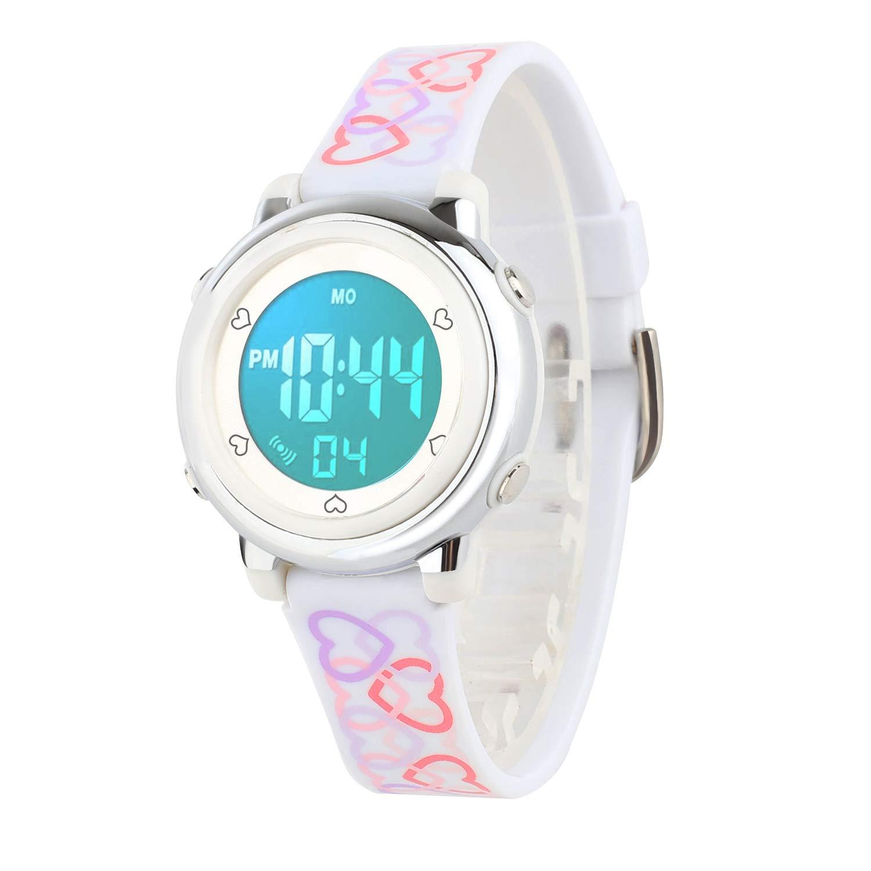 Kids Digital Watch, Boys Sports Waterproof Led Watches Kids Watches with Alarm Wrist Watches for Boy Girls Children White by Wdnba