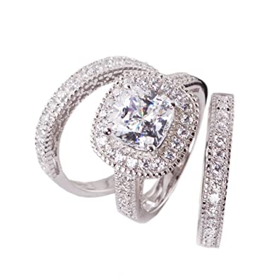 3pc Princess Cushion Cut Cubic Zirconia Halo Bridal Engagement Wedding Ring  Set .925 Sterling Silver