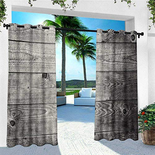 leinuoyi Dark Grey, Outdoor Curtain Kit, Ombre Style Grunge Wooden Planks Rustic Timber Oak Wall Rough Texture Image, Fashions Drape W72 x L96 Inch Black Pale Grey