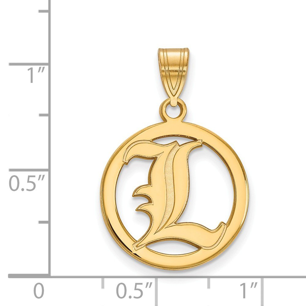 17mm x 26mm Solid 925 Sterling Silver with Gold-Toned University of Louisville Sm Pendant in Circle