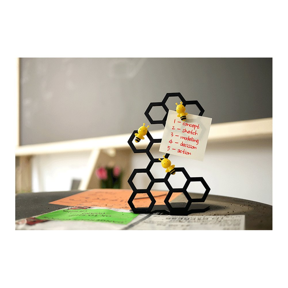 Whiteboard Refrigerator Magnet Bee Shaped Magnets with Stainless Steel Stands Mint 5.95 inch Desk Table Display Magnetic Memo Photo Holder