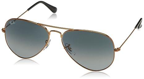 387496a606 Ray-Ban Men 's grande de metal Aviator anteojos de sol, brillante bronce