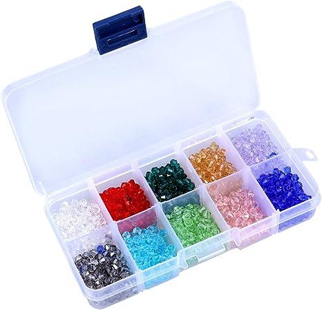 Perlas de vidrio Ultnice, 10 colores, artesanales, 4 mm, para manualidades, en estuche, para bisutería DIY, 1000 unidades: Amazon.es: Hogar