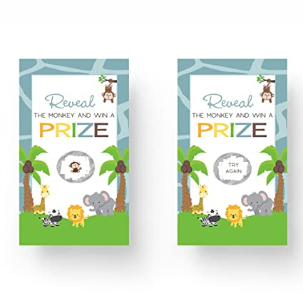 Amazoncom Paper Clever Party Jungle Baby Shower Scratch Off Game