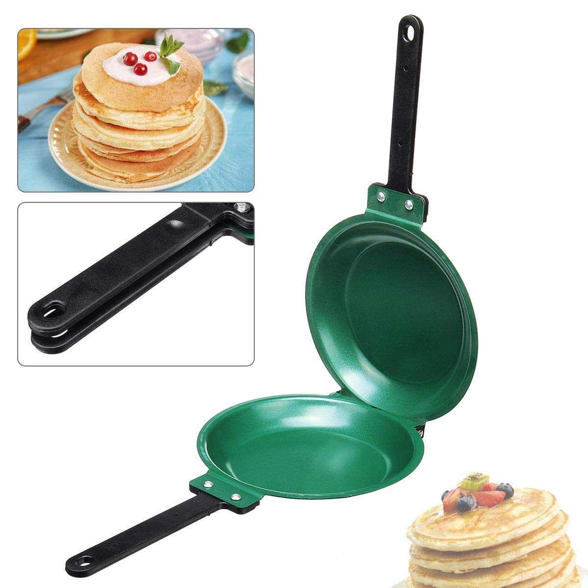 Green BESTHINKY Double Sided Pancake Maker Omelette Pan Healthy Frying Pan General Use for Gas and Induction Cooker DIY Non-Stick Flip Pan