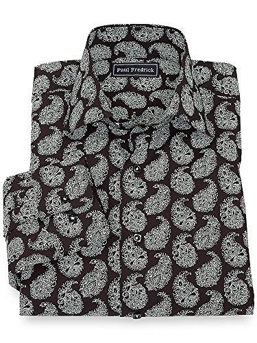 Paul Fredrick Men's 100% Cotton Paisley Spread Collar Sport Shirt Black Large Tall