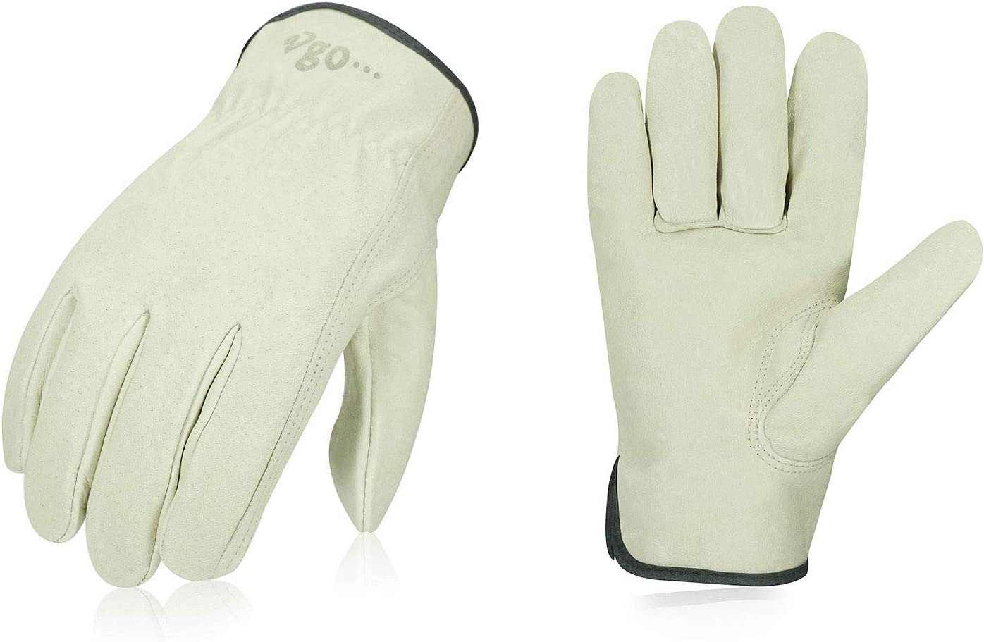 Vgo 3-Pairs Unlined Men's Pigskin Leather Work Gloves, Drivers Gloves (Size XL, Light Cyan, PA9501)