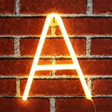 Light up LED Neon Letter Sign Wall Decorative Neon Lights Warm White Alphabet Marquee Letter Lights for Birthday Wedding Party Decor - A