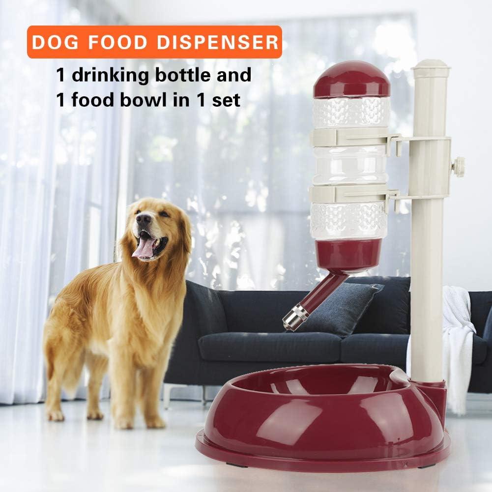 DaMohony Bebedero para Perros Dispensador de Alimentos Ajustable Bebedero para Mascotas Gatos Perros Rosa Roja