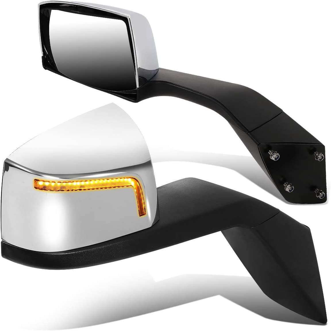 Black//Chrome DNA Motoring MIRROR-HAY-001-BK Pair of LED Sequential Manual Side Hood Mirrors for 04-18 Volvo VN