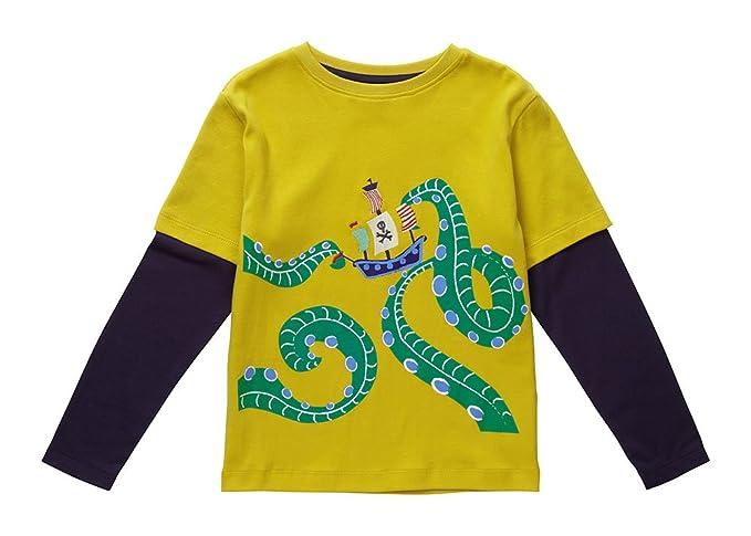 Piccalilly Camiseta de Manga Larga, Jersey de Algodón Orgánico, Niños, Monstruo Marino