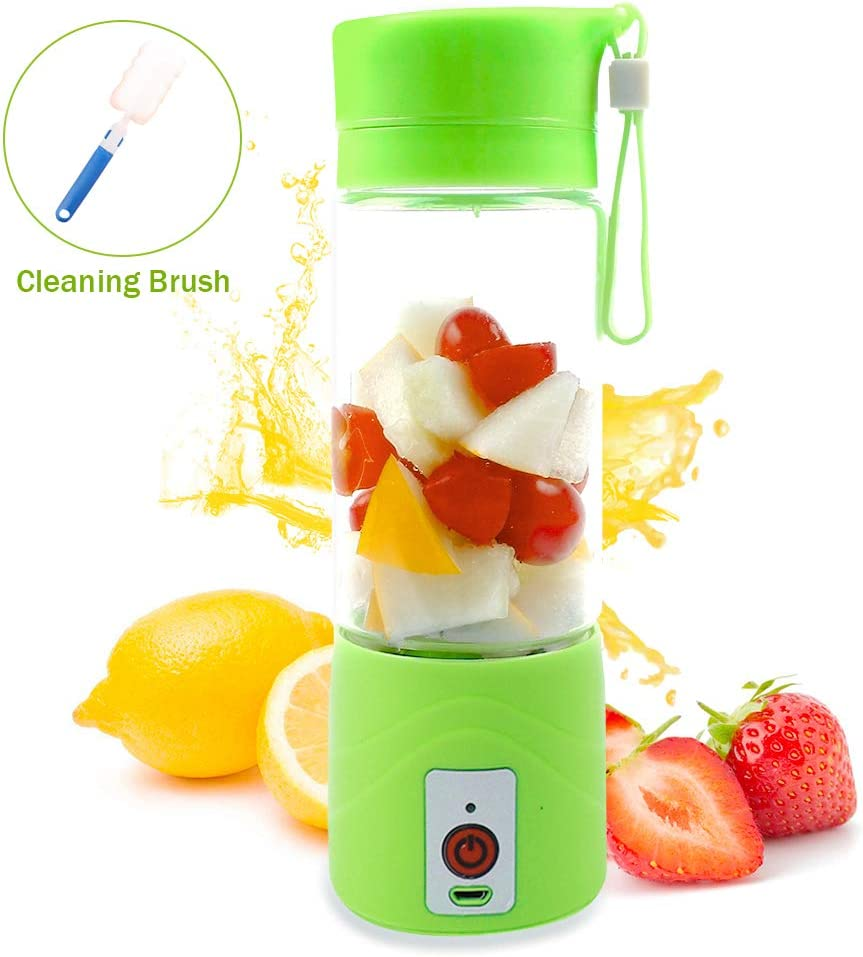 Vech Portable Blender, Electric USB Personal Smoothie Blender, Small Travel Fruit Mixing Machine Juicer Cup with 13OZ Glass Bottle - Single Serve Shake Mixer for Home Outdoor Travel Office (Green)