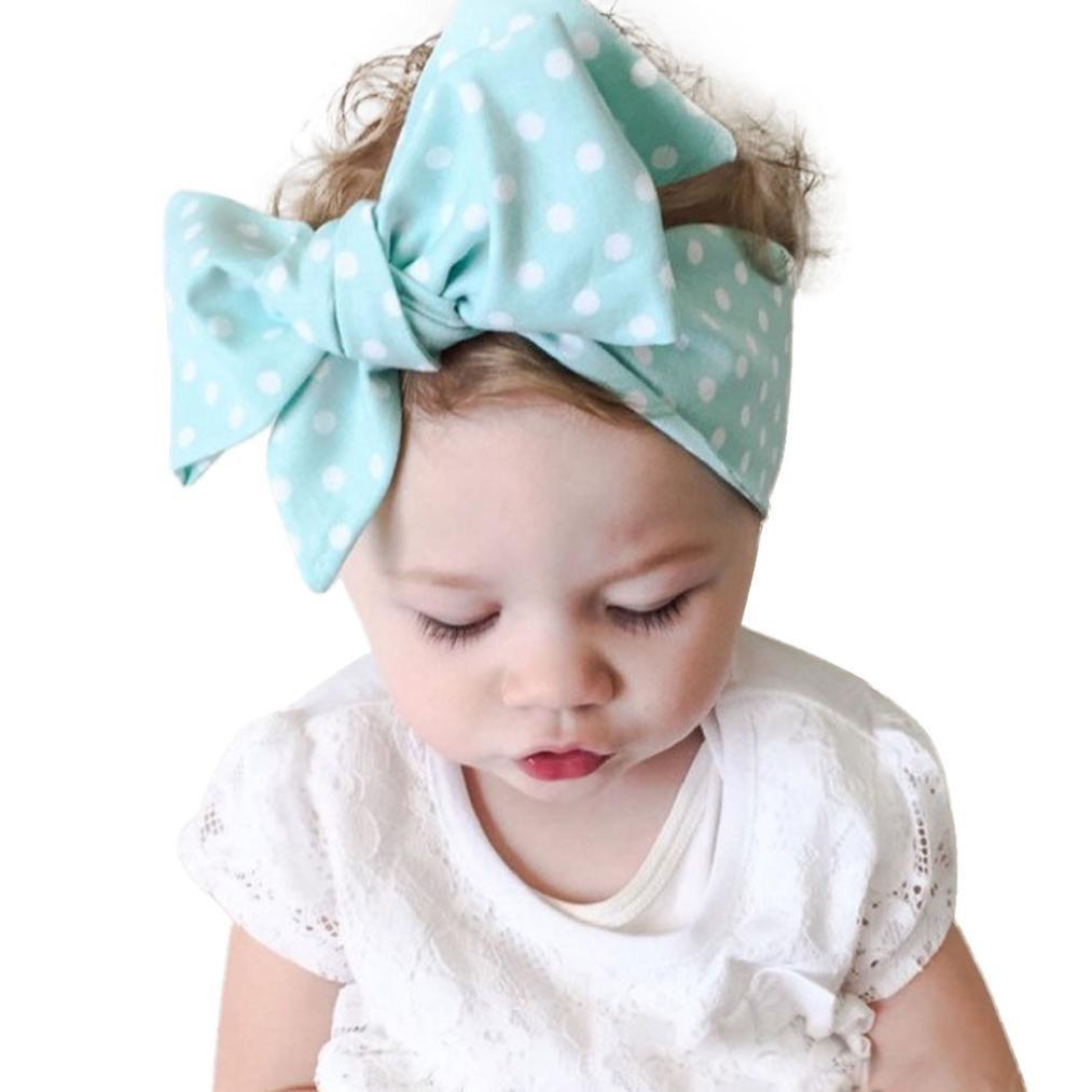 Girls Kids Children Baby Elastic Polka Dots Party Bow Hair Head band headband