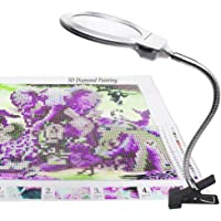 5D Diamond Painting Tools LED Light with Magnifiers for Diamond Painting 4X & 6X Magnifier LED Light with Clip and Flexible Neck 5D Diamond Painting and Cross Stitch Tool Accessory Magnifier Lamp