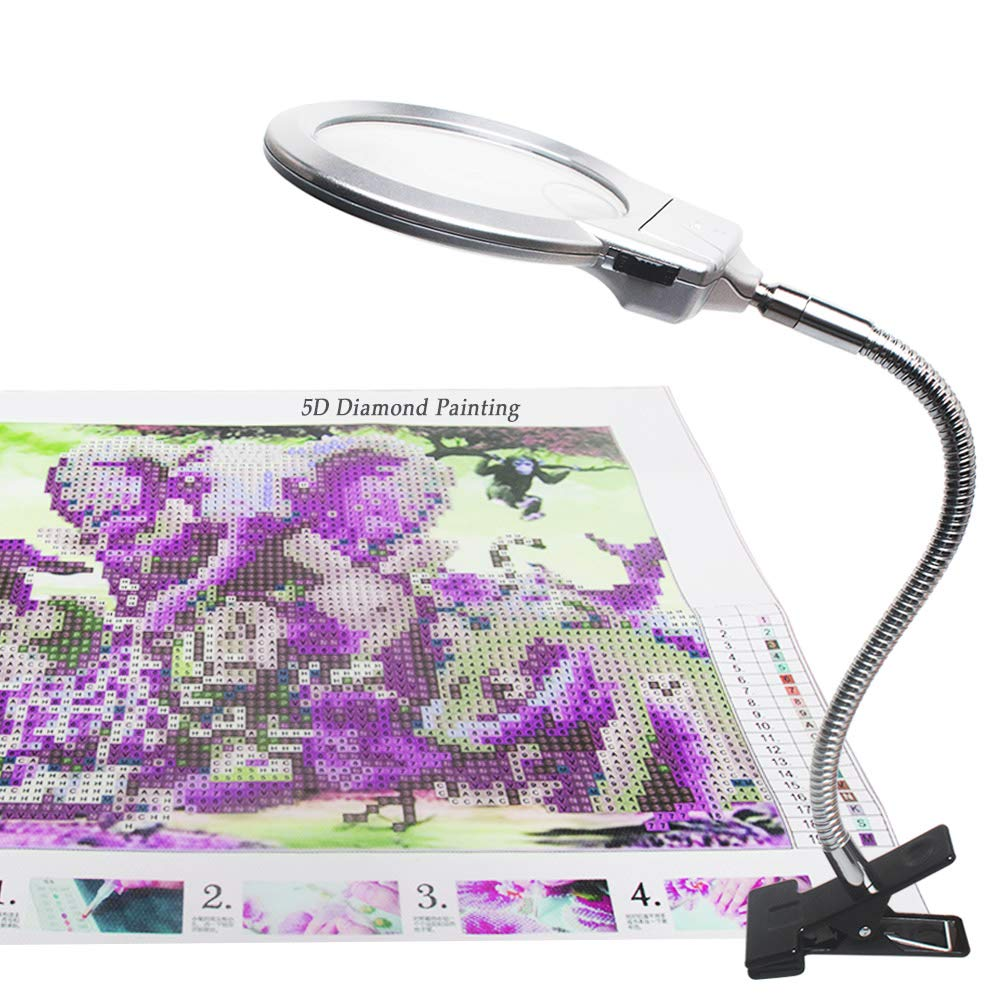 5D Diamond Painting Tools, geführt Light mit Magnifiers für Diamond Painting, 4X & 6X Magnifier geführt Light mit Clip und Flexible Neck, 5D Diamond Painting und Cross Stitch Tool Accessory Magnifier Lamp