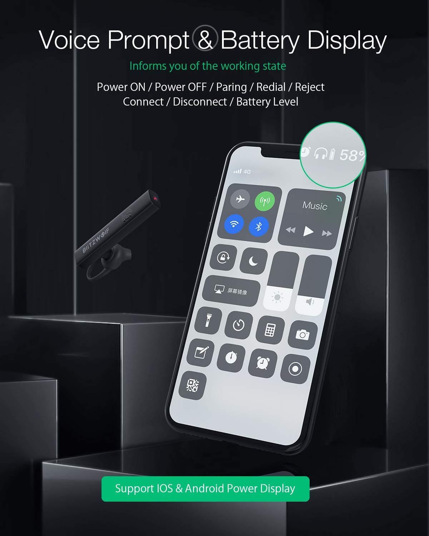 Auricular Manos Libre 4.1 con Micr/ófono Auricular Inal/ámbrico de Un Solo O/ído Contro T/átil HiFi Sonido Cancelaci/ón de Ruido BlitzWolf Auricular Bluetooth Negro