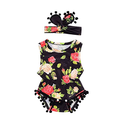 46ed900055b Amazon.com  Fineser Lovely Baby Girls Flowers Romper Summer Tassel Jumpsuit  with Headband Outfits  Clothing