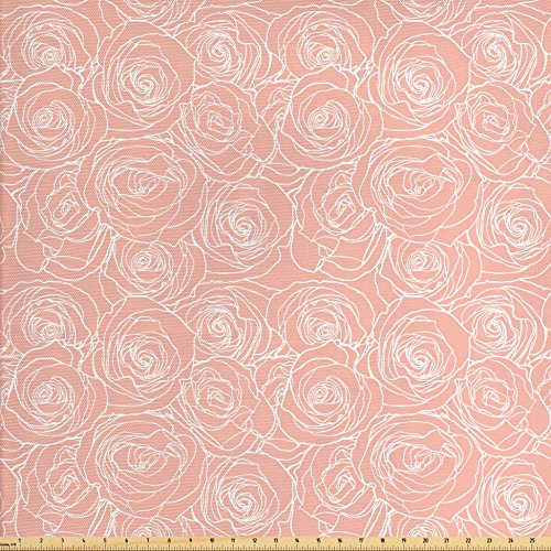 Lunarable Roses Fabric by The Yard, Abstract Outline of Rose Flowers Artistic Nature Inspiration Vintage Design Pastel, Decorative Fabric for Upholstery and Home Accents, Coral White