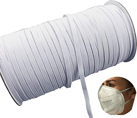 1//4inch Elastic Band, White Band 200 Yards Length 1//8 Inch Width Elastic Band White Briaded Knit Elastic String Cord Heavy Stretch Elastic Band for Sewing Craft DIY