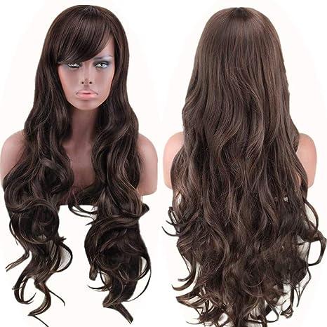 WADEO Peluca larga y rizada, pelucas largas y rizadas para el cabello de las mujeres