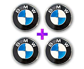 4 x BMW 68 mm centro de la rueda Caps 10 clips, color azul y blanco: Amazon.es: Coche y moto