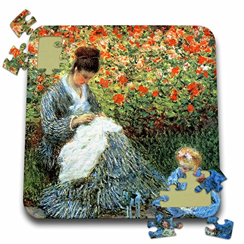 3dRose FabPeople - Claude Monet Portraits - Camille Monet and a Child in The Artists Garden Argenteuil, 1875 PD-US - 10x10 Inch Puzzle (pzl_179203_2)