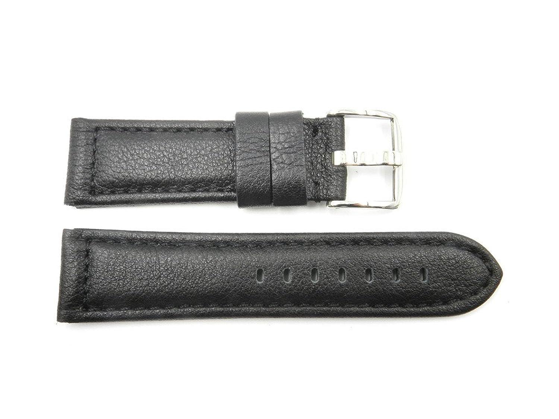24 mm Black Genuine Texturedレザースポーツ時計バンド  B073GGX6LC