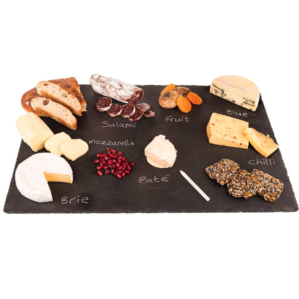 4 Sizes to Choose: Extra Large Stone Age Slate cheese boards (14''x20'' Serving Platter) with Soap Stone Chalk by Stone Age Slate