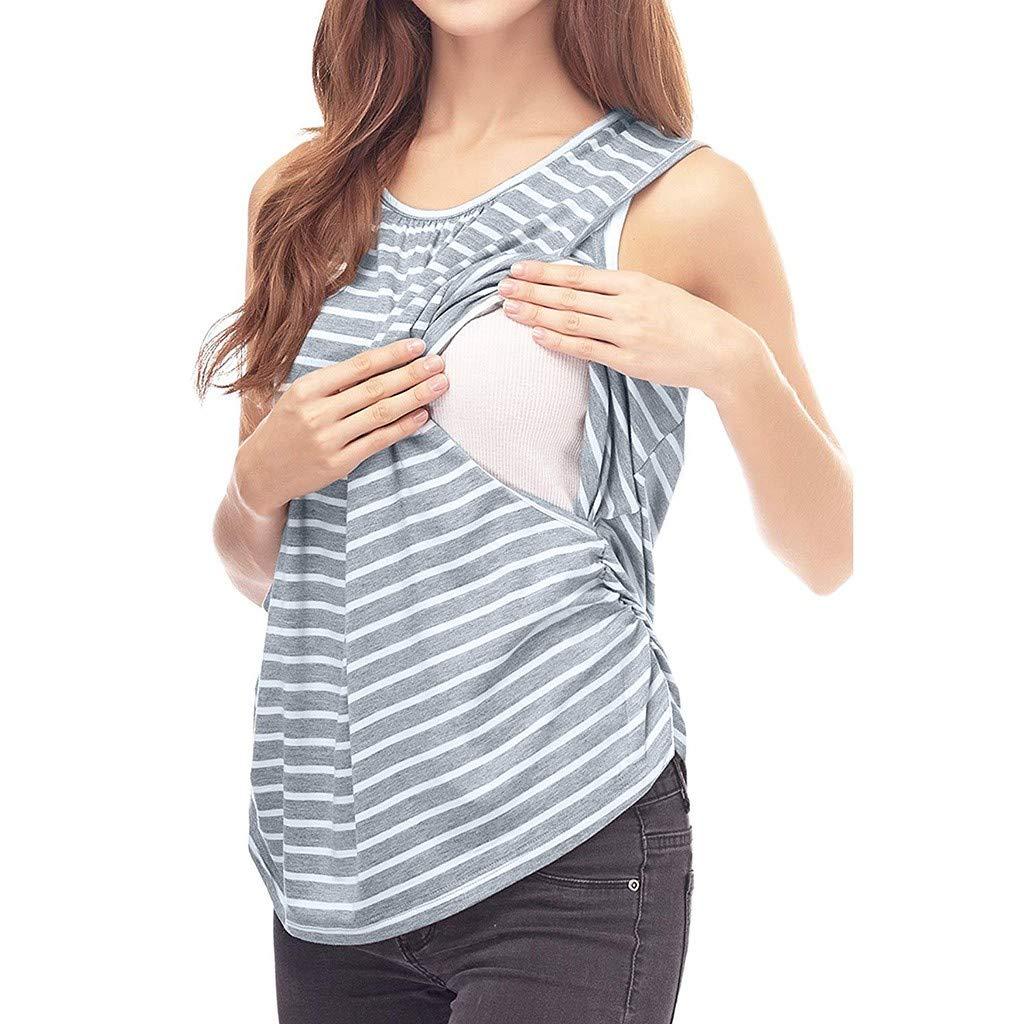 GoodLock(TM) Hot!! Women Fashion Maternity Tops Sleeveless Stripe Nursing Tank Mom Breastfeeding Vest (Gray, Medium)