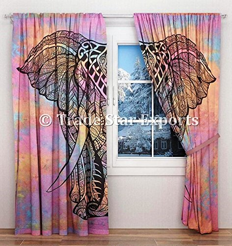 Elephant Tie Dye Curtains, Decorative Windows Curtain Set Of 2 Panels, Boho Door Hanging Drapes, Ethnic Tapestry Curtains, Room Darkening Panels, Window Treatments Curtains for Living Room (Pattern 6) ()