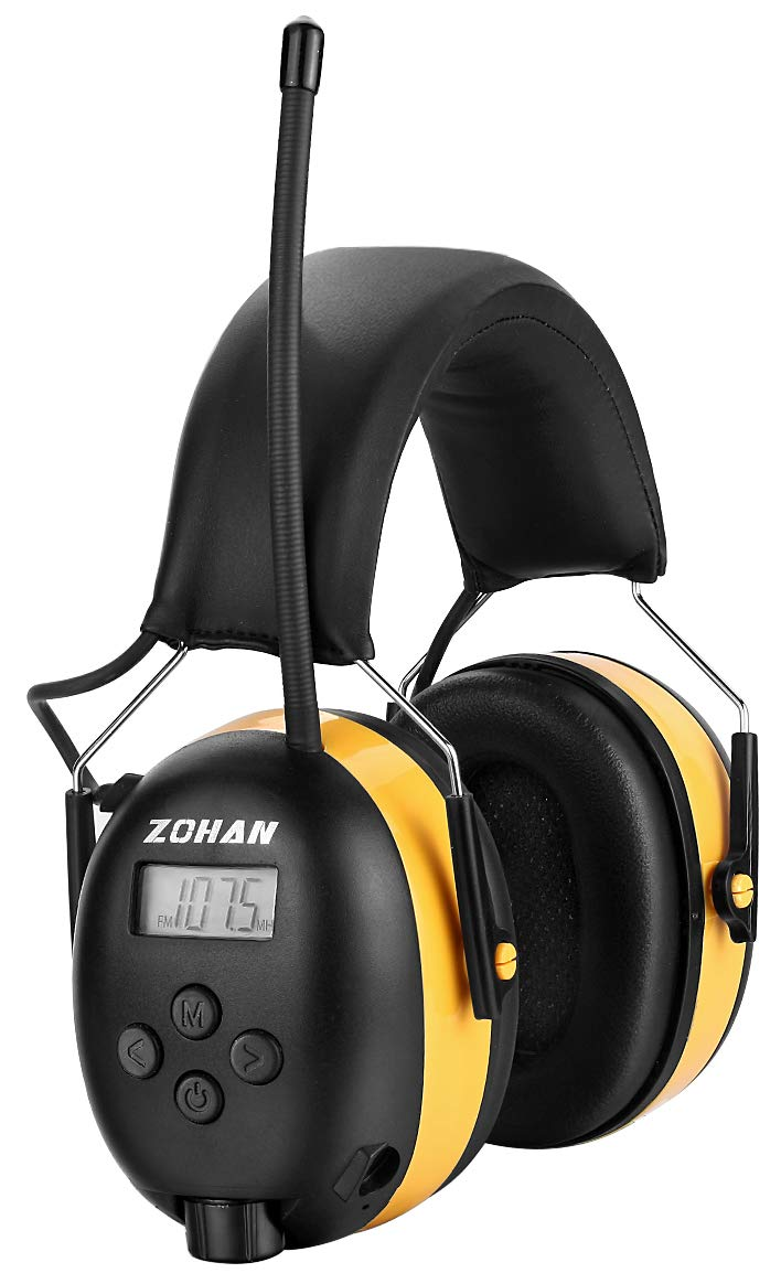 Digital AM/FM Radio Earmuff, ZOHAN Type-A Ear Protection with Stereo Radio, Perfect for Mowing (Yellow) by ZOHAN