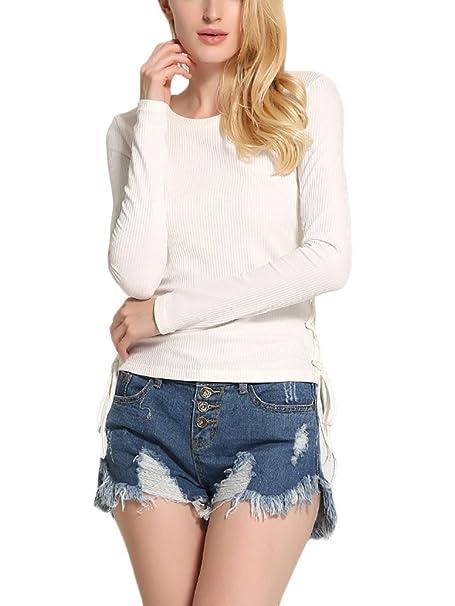 Mujer Camisetas Manga Larga De Punto Elegantes Basicas Slim Fit Casual Pullover Tops Primavera Otoño Cuello