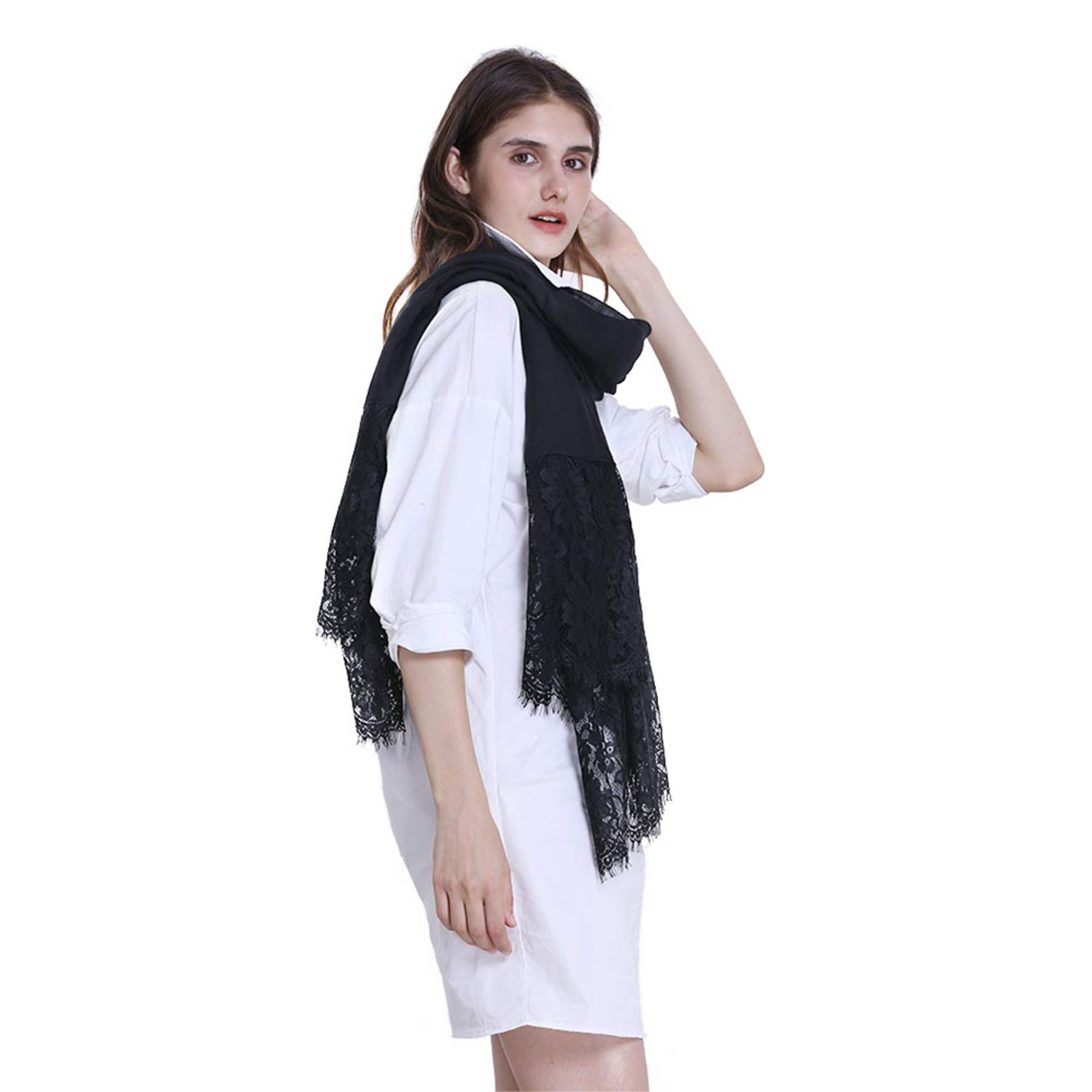 Women Fashion Scarf Wrap Shawl,RiscaWin Autumn Soft Lightweight Lace Scarves Wrap Warm Scarf(Black) by RiscaWin (Image #4)