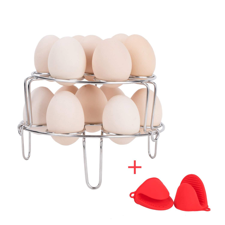 Vencer 2-Pack Stackable Stainless Steel Egg Steamer Rack Trivet for Pressure Cooker with 2 Silicone Mitts,Vegetable Cooler Stand Basket Set, C-VSO-005