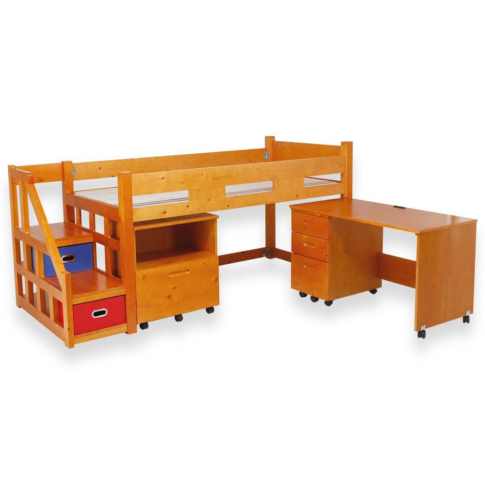 LOWYA (ロウヤ) ロフトベッド システムベッド 子供用ベッド 収納ラック付 デスク付 3点セット ライトブラウン おしゃれ 新生活 B00KV2D9VO ライトブラウン