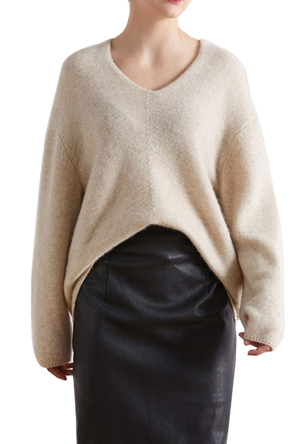 Womens Cashmere Solid Soft Cosy Loose Fit Irregular Thermal Chunky V Neck Sweater Tops Sweatshirt Khaki US 2-4