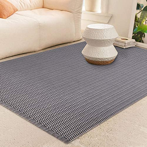 Seavish Chindi Rug, 3 W x 5 L Dark Grey and White Striped Hand Woven Recycled Cotton Braid Reversible Small Area Rug Floor Mat Rugs Carpet for Laundry Room Kitchen Bathroom Bedroom Dorm