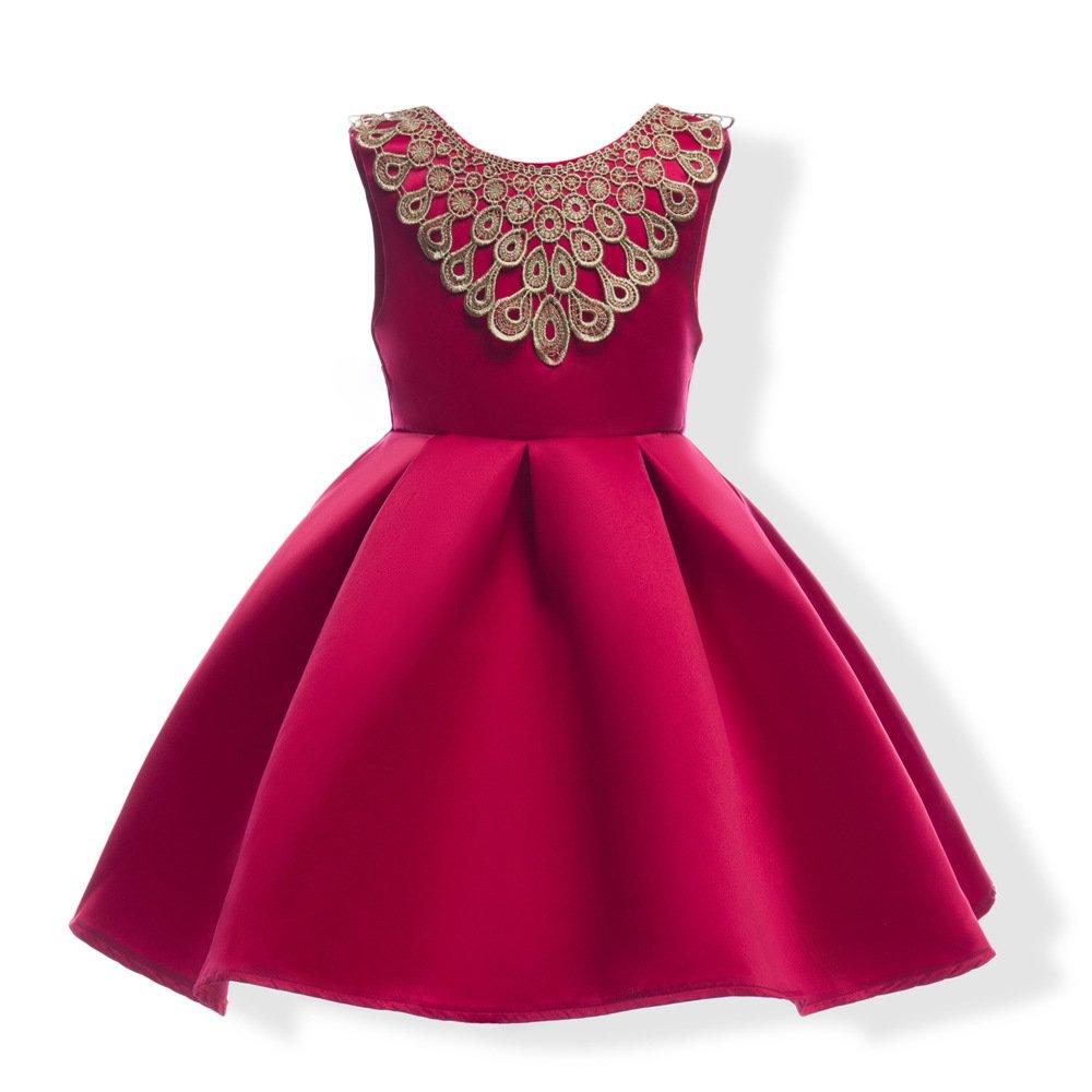 Mrsrui Girls Summer Casual Dress Sleeveless Vintage Print Swing Party Dresses Birthday Gift (150#, RED)