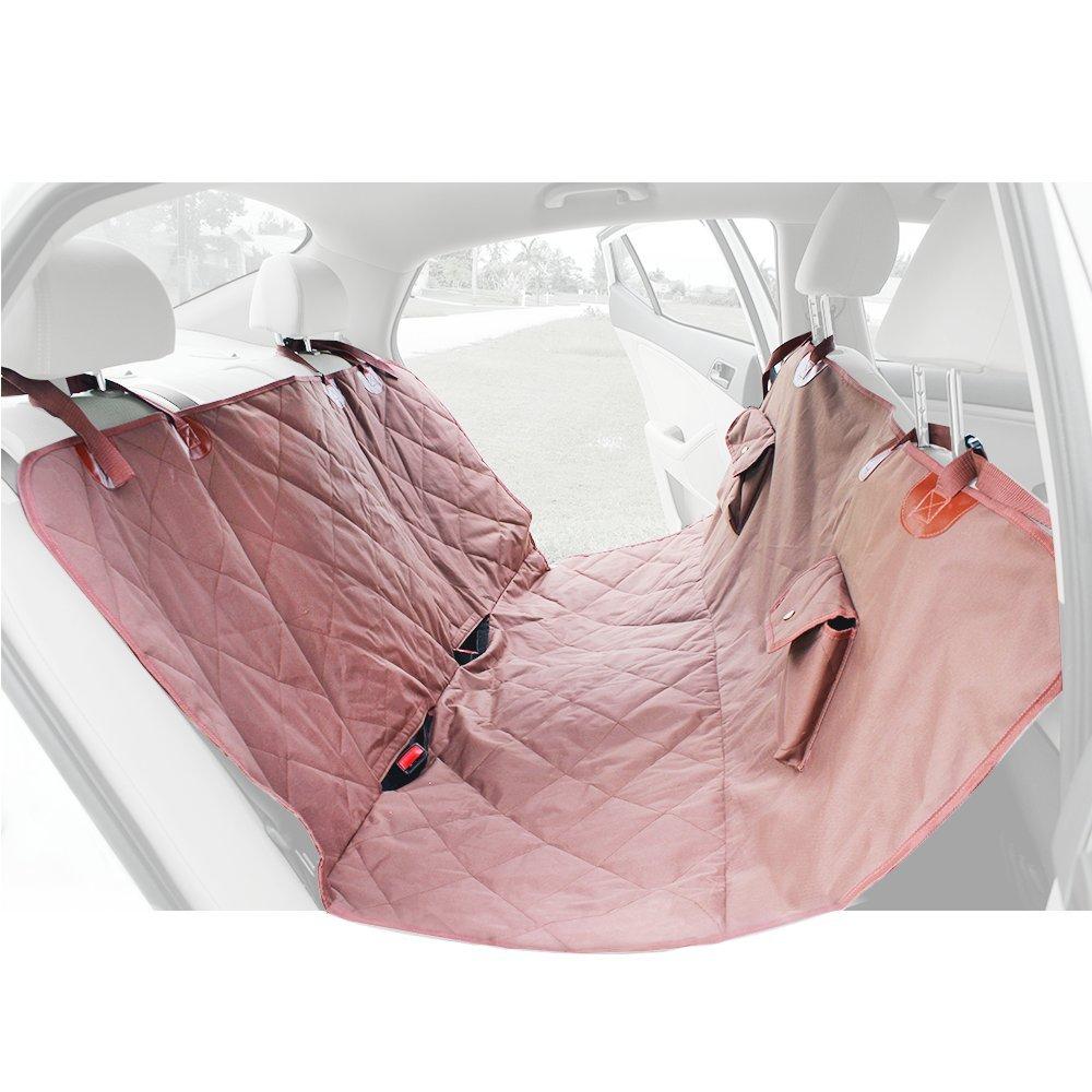 Barkiz Universal Pet Seat Cover Suede w Slip Resistant Waterproof Padding (Large (54 x58 ), Beige)