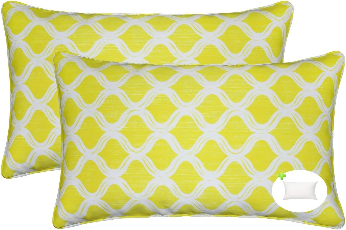 FBTS Prime Outdoor Rectangle Pillows with Insert Yellow 2 Packs Patio Decorative Throw Pillow Covers 20x12 Inch Square Patio Cushions for Couch Bed Sofa Patio Furniture