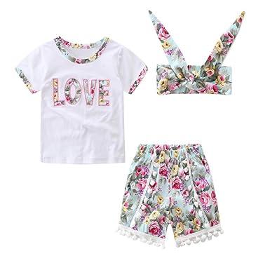 7ac1dfde362 BOBORA 3PCS Toddler Kids Baby Girls Flower Print Tassel Short Sleeve Tee +Shorts  Pants +