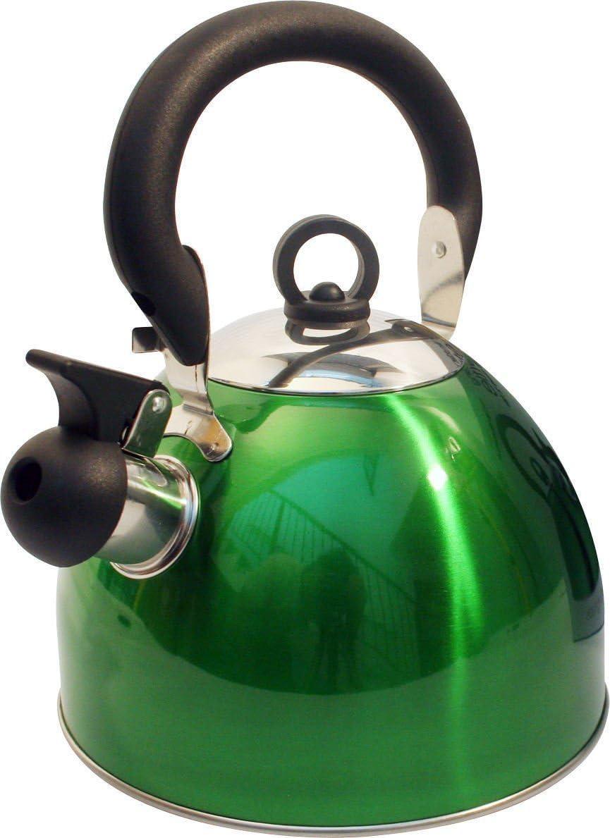 Boquilla de acero inoxidable para silbato de peso ligero con boquilla tradicional y retro para estufa color verde met/álico de Guilty Gadgets