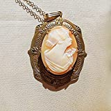 """Antique Beautiful Hand Carved Shell Cameo w/ Flowers on Shoulder Highly Etched Pendant Brooch 1 1/2"""". Gold Filled Necklace."""