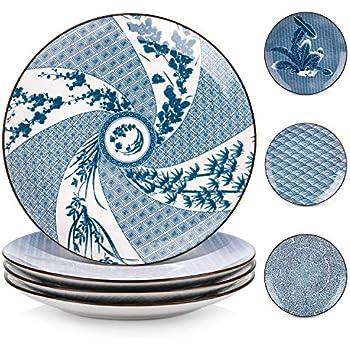 FINECASA Chinese Style Bone China 7 inch Moonlight Platter Set of 4