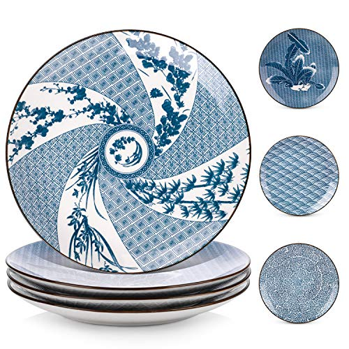 Y YHY Porcelain Dinner Plate Set, 10 Inches Serving Plates, Assorted Patterns, Blue and White, Set of 4 (Plate Inch Dinner Set 10)